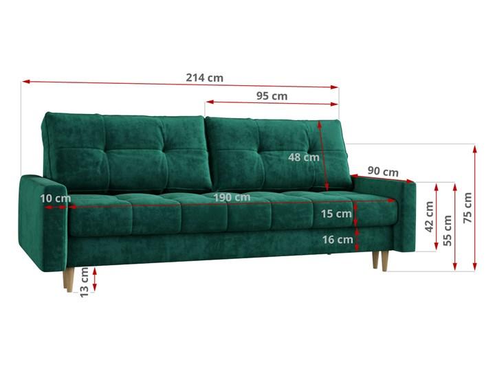 Butelkowa zieleń skandynawska rozkładana sofa z funkcją spania SCANDI Szerokość 214 cm Głębokość 90 cm Typ Gładkie