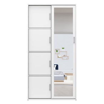 Biała szafa przesuwna na buty MKS 01 garderoba do przedpokoju z lustrem 95 cm