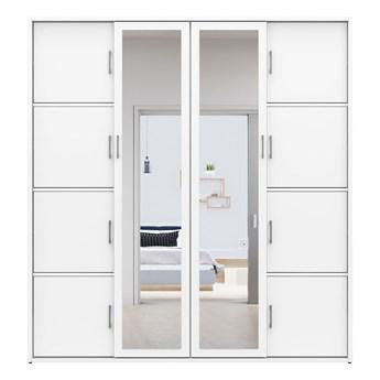 Biała szafa przesuwna z lustrem MKS 03 garderoba na buty z półkami 190 cm