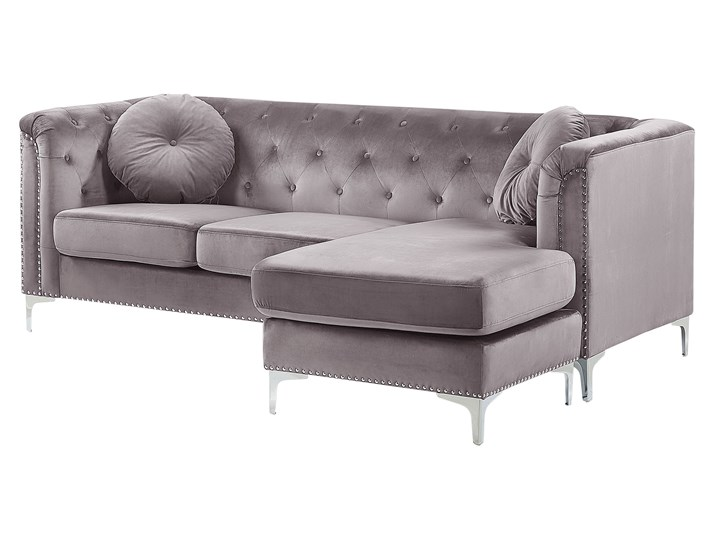 Narożnik lewostronny modułowy szary 3-osobowy dodatkowe poduszki gwoździe tapicerskie pikowana styl glamour Typ Pikowane Modułowe Materiał obicia Welur