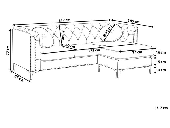 Narożnik lewostronny modułowy szary 3-osobowy dodatkowe poduszki gwoździe tapicerskie pikowana styl glamour Materiał obicia Tkanina Modułowe Typ Pikowane
