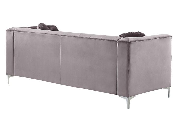 Narożnik lewostronny modułowy szary 3-osobowy dodatkowe poduszki gwoździe tapicerskie pikowana styl glamour Modułowe Materiał obicia Tkanina Strona Lewostronne