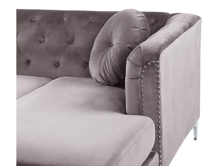 Narożnik lewostronny modułowy szary 3-osobowy dodatkowe poduszki gwoździe tapicerskie pikowana styl glamour Modułowe Materiał obicia Tkanina