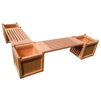Drewniana donica ogrodowa z siedziskiem narożna - Tempra