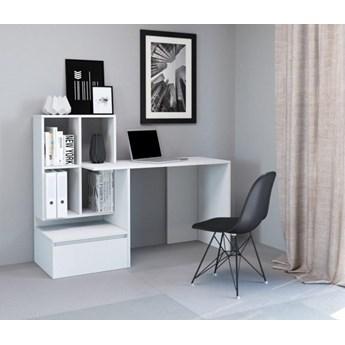 Białe nowoczesne biurko z półkami i szufladą dla ucznia