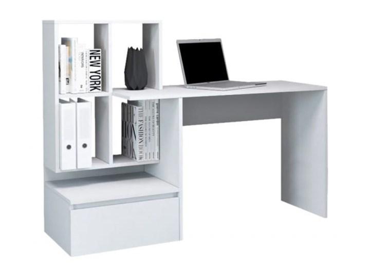 Białe nowoczesne biurko z półkami i szufladą dla ucznia Biurko komputerowe Głębokość 51 cm Biurko z nadstawką Płyta meblowa Styl Industrialny Kolor Biały