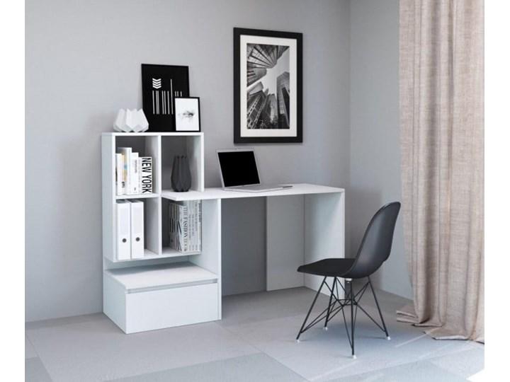Białe nowoczesne biurko z półkami i szufladą dla ucznia Płyta meblowa Biurko z nadstawką Biurko komputerowe Głębokość 51 cm Pomieszczenie Pokój nastolatka Pomieszczenie Biuro