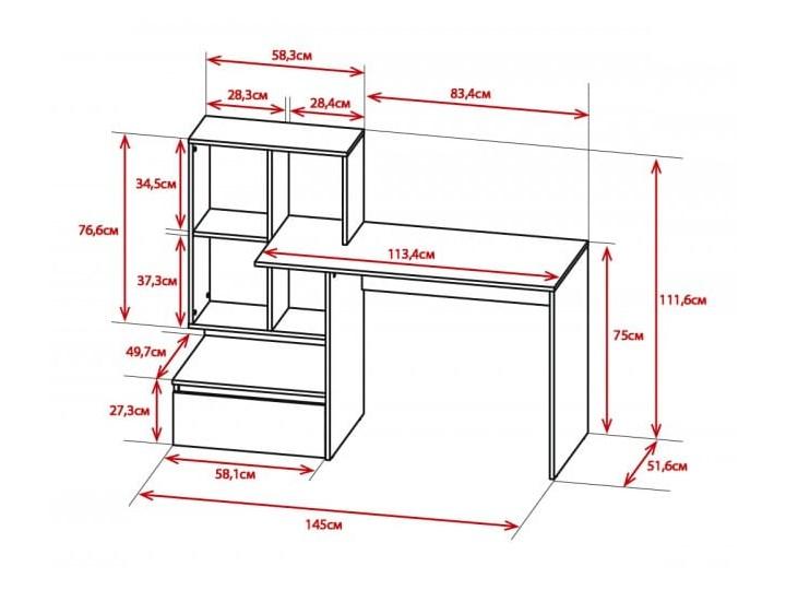 Białe nowoczesne biurko z półkami i szufladą dla ucznia Biurko komputerowe Biurko z nadstawką Styl Nowoczesny Głębokość 51 cm Płyta meblowa Styl Industrialny