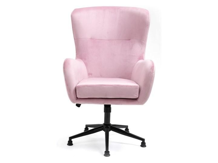 Fotel obrotowy w stylu skandynawskim  Svein (YC-9118) Różowy Tkanina Fotel pikowany Metal Wysokość 120 cm Głębokość 74 cm Kategoria Fotele do salonu
