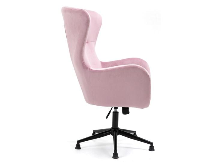 Fotel obrotowy w stylu skandynawskim  Svein (YC-9118) Różowy Fotel pikowany Wysokość 120 cm Tkanina Głębokość 74 cm Metal Kategoria Fotele do salonu