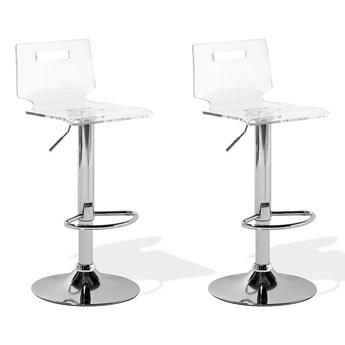 Hoker barowy biały przeźroczysty akryliczne siedzisko srebrna noga z podnóżkiem regulowana wysokość