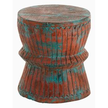 Stolik Oriental Drewno Mango Lazur / Pomarańczowy