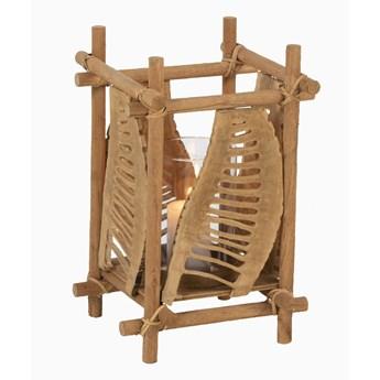 Świecznik Drewno Bambusowe Szkło S