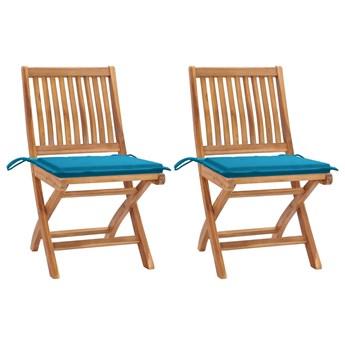 vidaXL Krzesła ogrodowe, 2 szt., kobaltowe poduszki, drewno tekowe
