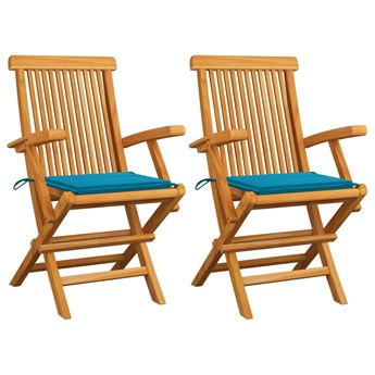 vidaXL Krzesła ogrodowe z kobaltowymi poduszkami, 2 szt., tekowe