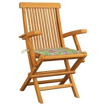 vidaXL Krzesła ogrodowe z poduszkami w liście, 2 szt., drewno tekowe