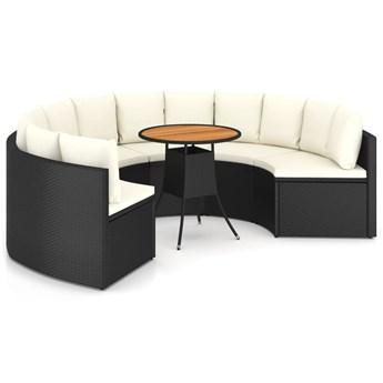 vidaXL 7-częściowa sofa ogrodowa z poduszkami, rattan PE, czarna