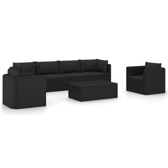 vidaXL 7-częściowy zestaw mebli do ogrodu, poduszki, rattan PE, czarny