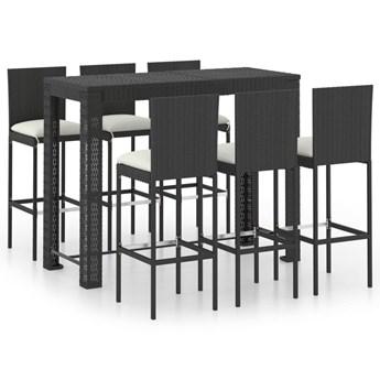 vidaXL 7-cz. zestaw mebli barowych z kremowymi poduszkami, rattan PE