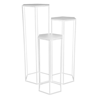 Wysoki zestaw trzech stolików biały - Visim