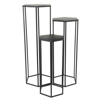 Wysoki zestaw trzech stolików czarny - Visim