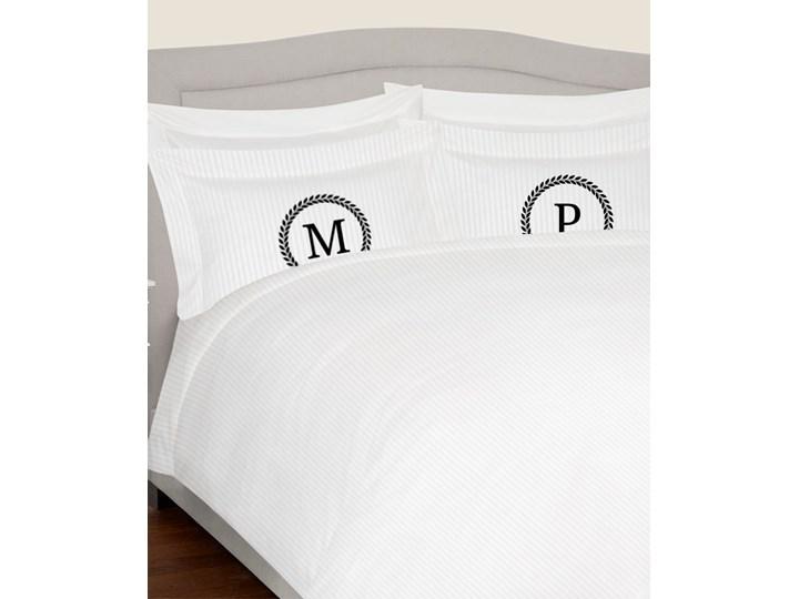 Komplet białej adamaszkowej pościeli personalizowanej ZOE - 160 x 200 Bawełna Pomieszczenie Pościel do sypialni 160x200 cm Kolor Biały