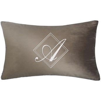 Poduszka prostokąt VELVET BONNY z monogramem - Beż