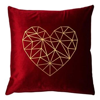 Poduszka VELVET Geometric Heart - Bordowy