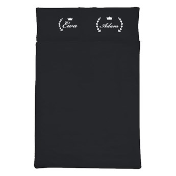 Komplet czarnej satynowej pościeli personalizowanej LAUR z imionami - 160 x 200