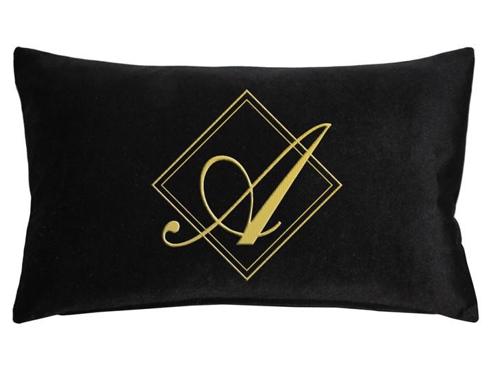 Poduszka prostokąt VELVET BONNY z monogramem - Czarny Aksamit 40x60 cm Welur Prostokątne Poszewka dekoracyjna Poduszka dekoracyjna Kategoria Poduszki i poszewki dekoracyjne