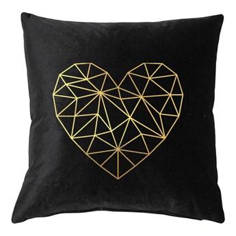 Poduszka VELVET Geometric Heart - Czarny