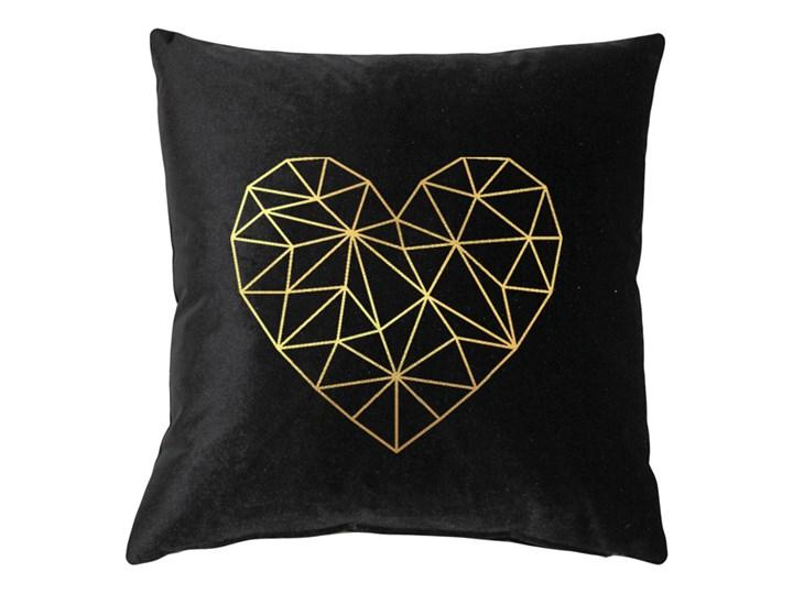 Poduszka VELVET Geometric Heart - Czarny Poszewka dekoracyjna Welur Aksamit 45x45 cm Poduszka dekoracyjna Kategoria Poduszki i poszewki dekoracyjne