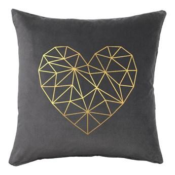 Poduszka VELVET Geometric Heart - Grafit