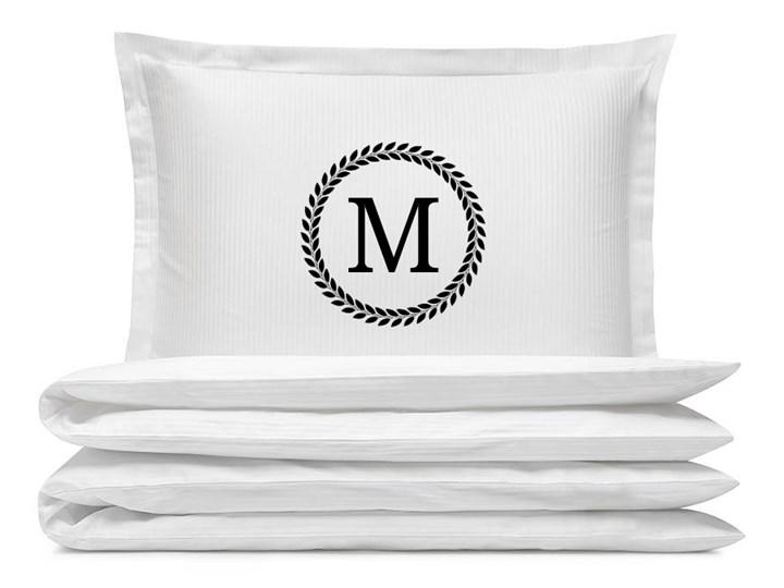 Komplet białej adamaszkowej pościeli personalizowanej ZOE - 180 x 200 180x200 cm Bawełna Kolor Biały