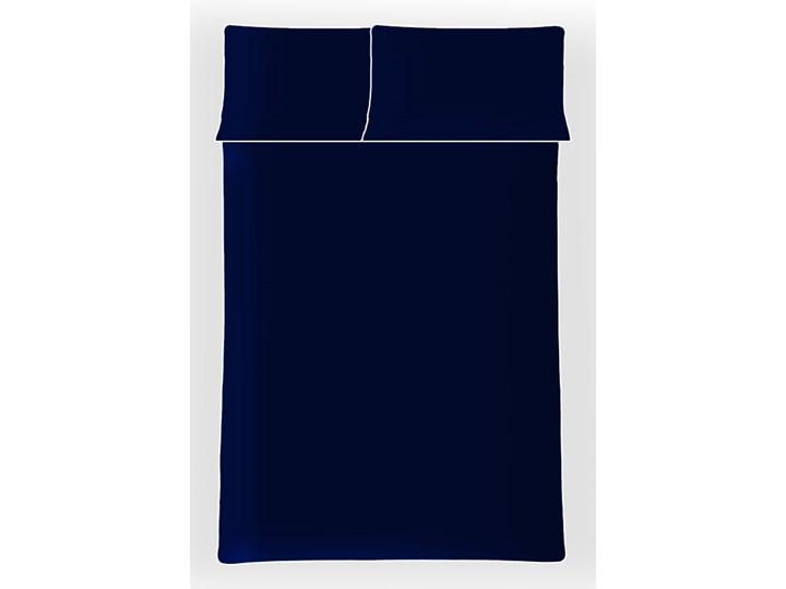 Pościel satynowa SAN ANTONIO - navy blue z białą lamówką - 180 x 200 Komplet pościeli Bawełna Satyna 180x200 cm Kolor Biały