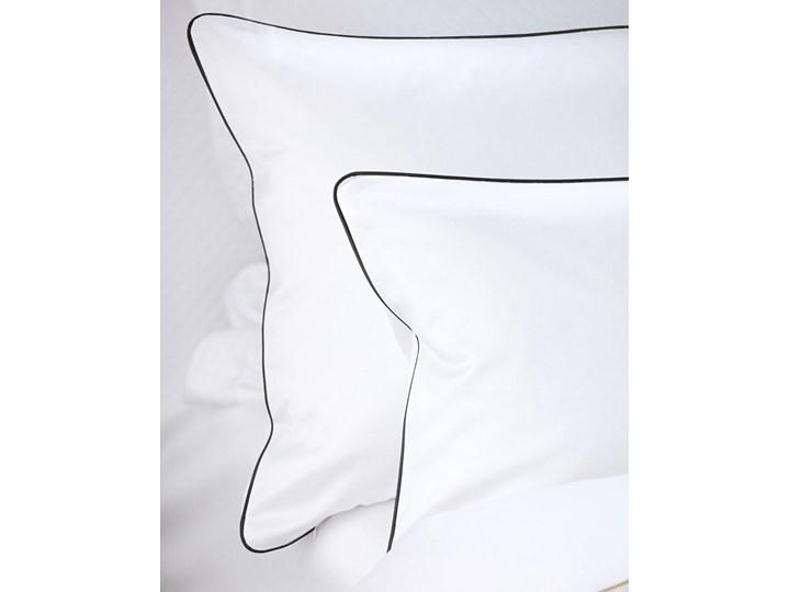 Pościel satynowa SAN ANTONIO – biała z czarną lamówką - 200 x 200 200x200 cm Komplet pościeli Bawełna Satyna Kolor Biały Kolor Czarny