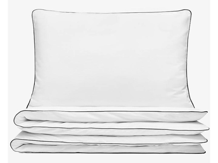 Pościel satynowa SAN ANTONIO – biała z czarną lamówką - 180 x 200 Satyna Komplet pościeli Bawełna 180x200 cm Kolor Biały