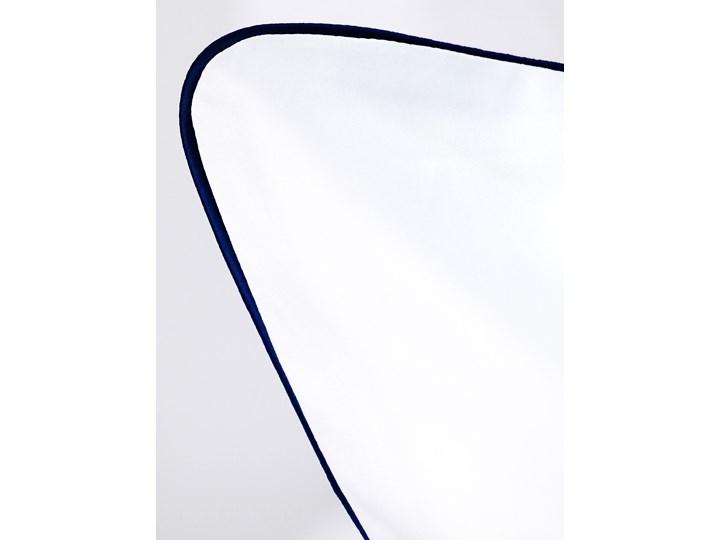 Pościel satynowa SAN ANTONIO - biała z lamówką navy blue - 160 x 200 160x200 cm Komplet pościeli Bawełna Satyna Kolor Biały