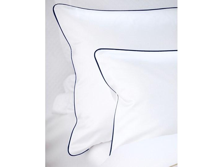 Pościel satynowa SAN ANTONIO - biała z lamówką navy blue - 180 x 200 180x200 cm Satyna Komplet pościeli Bawełna Kolor Biały