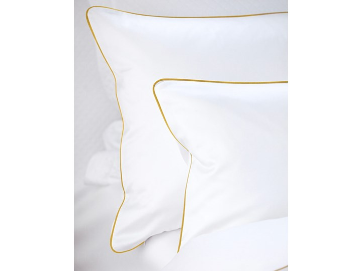 Pościel satynowa SAN ANTONIO - biała ze złotą lamówką - 160 x 200 Komplet pościeli 160x200 cm Satyna Bawełna Kolor Biały