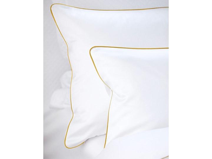 Pościel satynowa SAN ANTONIO - biała ze złotą lamówką - 180 x 200 Bawełna 180x200 cm Komplet pościeli Satyna Kolor Biały