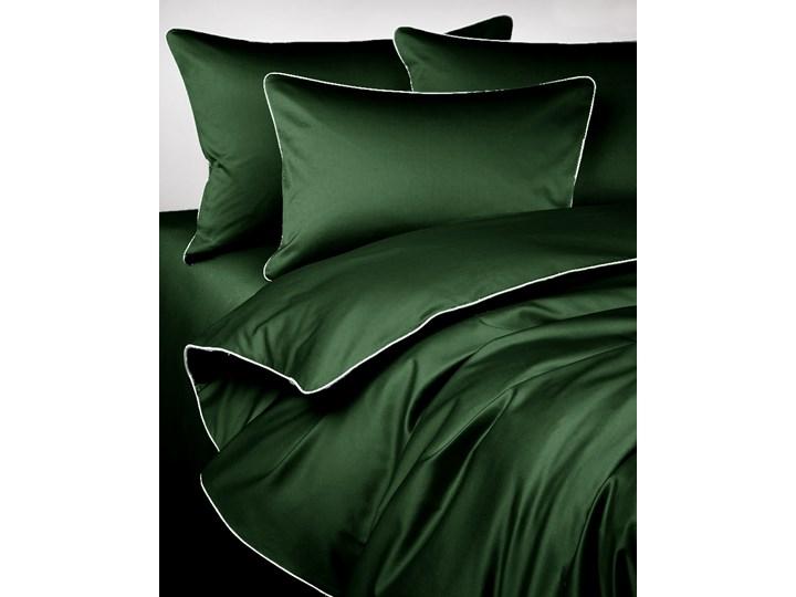 Pościel satynowa SAN ANTONIO - butelkowa zieleń boho z lamówką - 160 x 200 Satyna Komplet pościeli 160x200 cm Bawełna Pomieszczenie Pościel do sypialni