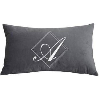 Poduszka prostokąt VELVET BONNY z monogramem - Grafit