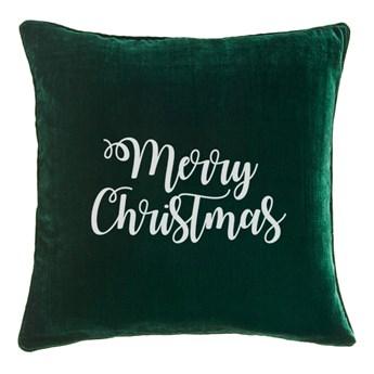 Poduszka VELVET z haftem Merry Christmas - Zieleń