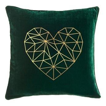 Poduszka VELVET Geometric Heart - Zieleń