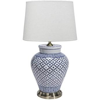 Ceramiczna lampa stołowa Feng 58cm niebieska krata