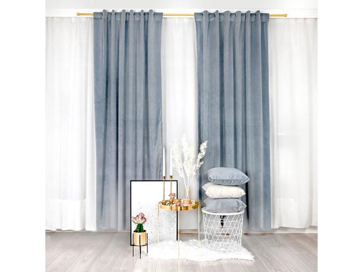 Szaroniebieska zasłona z weluru Velvet 140x250 cm Bawełna Pomieszczenie Salon