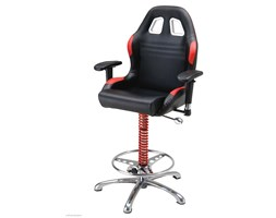 Siedzenie barowe ( hoker ) PitStop Szef - Czarno-Czerwone