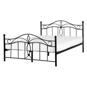 Łóżko czarne metalowe 160 x 200 cm dwuosobowe ze stelażem i zagłówkiem styl retro
