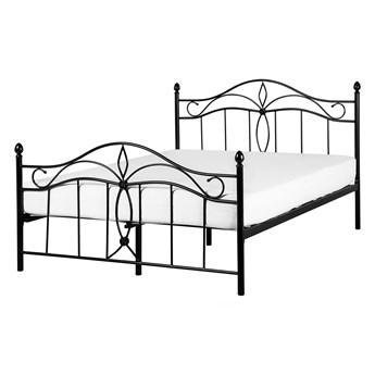 Łóżko czarne metalowe 140 x 200 cm dwuosobowe ze stelażem i zagłówkiem styl retro